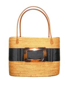 ADORE this large oval Bali Bag with Black Ribbon and Tortoise Buckle.  Yes. ADORE.