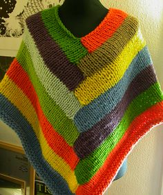Ravelry: Poncho i striber pattern by Stine Johansen Super Bulky wpi) ? 8 stitches = 4 inches in stockinette stitch Needle size 17 Pattern in Danish Addi Knitting Machine, Knitting Machine Patterns, Poncho Knitting Patterns, Knitted Poncho, Lace Knitting, Knit Crochet, Poncho Shawl, Kids Poncho, Knit Fashion