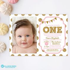 Girls first birthday invitation pink gold invitation first girls first birthday invitation pink gold invitation first birthday girl pink gold first birthday pink and gold birthday printable 1030 baby bella filmwisefo