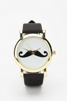 Mustache Watch from Urban Outfitters. Saved to My Accessories. Shop more products from Urban Outfitters on Wanelo. Fashion Moda, Mens Fashion, Urban Outfitters, Bijou Box, For Elise, Cool Watches, Wrist Watches, Swagg, Michael Kors