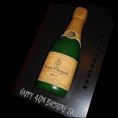 Champagne bottle cake - Veuve Cliquot cake - That's My Cake Veuve Cliquot, Champagne Birthday, Bottle Cake, Happy 40th Birthday, Cake Ideas, Engagement, Drinks, Big, Party