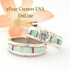 Four Corners USA Online - Size 6 1/2 White Fire Opal and Coral Engagement Bridal Wedding Ring Set Native American Wilbert Muskett Jr WS-1591, $240.00 (http://stores.fourcornersusaonline.com/size-6-1-2-white-fire-opal-and-coral-engagement-bridal-wedding-ring-set-native-american-wilbert-muskett-jr-ws-1591/)