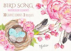 Bird Song Watercolor rlements from Etsy shop bydigitalpaper. Etsy listing at https://www.etsy.com/listing/248213767/bird-song-collection-floral-watercolor