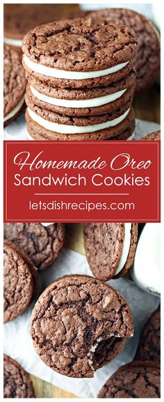 Homemade Oreo Sandwich Cookies Recipe -- These fun cookies start with a Devil's Food cake mix. Two chocolate cookies are then filled with a sweetened cream cheese filling, to create a delicious sandwich cookie that's sure to be a family favorite. #cookies #desserts #oreos #recipes
