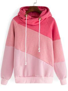 Hooded+Drawstring+Color-block+Sweatshirt+16.33