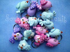 Chaveiro  passarinhos e chaveiro corujinhas =) by Sonho Doce Biscuit *Vania.Luzz*, via Flickr