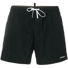 dsquared2 Classic Logo Swim Shorts (€205) ❤ liked on Polyvore featuring men's fashion, men's clothing, men's swimwear, black and pebble beach men's clothing
