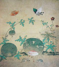 申師任堂, 草蟲圖, 8폭 중 1폭, 16세기 전반, 병풍, 지본채색, 33.2×28.5㎝, 國立中央博物館 Sin Saimdang : Insects and Plans, Color on paper, Joseon dynasty(first half of 16c)