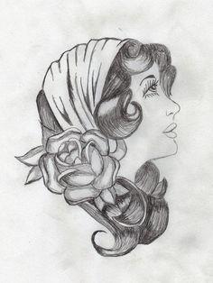 woman traditional american tattoo | Gypsy Woman Face | http://wonderfultatoos.blogspot.com