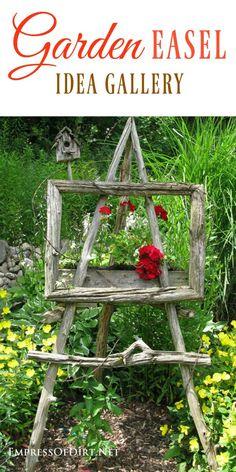Use garden art easels to give your garden a unique artistic touch. #gardenart #gardenideas #gardenjunk #creativegardening #artisticgarden #rusticgarden #empressofdirt