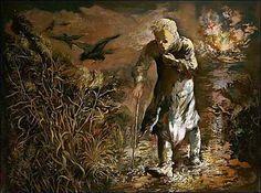 """""""Ο Περιπλανώμενος"""", 1940. Ένα από τα έξοχα έργα της ωριμότητας του Grosz. Μοναχικός, με ηλικία βαριά, απογοητευμένος με το ισχνό στήριγμα στο μπαστουνάκι, σφίγγει το πανωφόρι στο λαιμό κόντρα στου βορριά την ερημία. Μια κοινωνία σε απαισιοδοξία, ο βίος που πλησιάζει θλιβερά στο τέλος, στο θάνατο που δεν αργεί πια. Τα κύματα της απόγνωσης να βρεθεί ένας κόσμος γι΄αυτόν, τονίζονται από τα κακότυχα κοράκια που ήδη μαζεύτηκαν."""