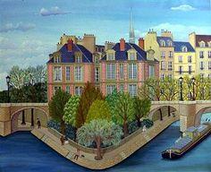 Cellia Saubry  Charming 'Naive' art of neighborhoods of Paris