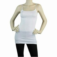 WHITE LONG LAYERING CAMI Cotton spandex camisole tank with adjustable spaghetti elastic straps Long length Great for layering under your favorite tops or just to sleep in Fitted and very stretchy 95% COTTON 5% SPANDEX Tops Camisoles