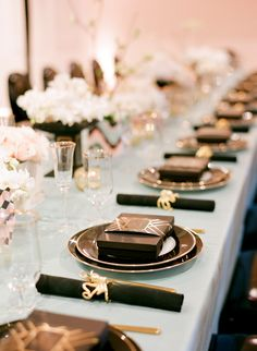 Inspiring Tablescapes from Lisa Lefkowitz via Style Me Pretty Living black and gold accents #weddings