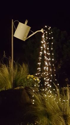 Outdoors Discover Watering can with string of light water drops - lights Balcony Lighting Backyard Lighting Water Lighting Light Water Drop Lights Can Lights String Lights Light String Dollar Store Halloween Hanging Patio Lights, Drop Lights, String Lights Outdoor, Light String, Diy Garden Decor, Garden Art, Garden Design, Backyard Lighting, Outdoor Lighting