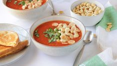 """This recipe came from Canadian Living magazine, adapted for our household.makes a great """"fancy"""" lunch on a weekend even though it's so quick! Tomato Soup Recipes, Easy Chicken Recipes, Easy Black Bean Soup, Cream Of Broccoli Soup, Quick And Easy Soup, Stewed Tomatoes, Healthy Dishes, Soups And Stews, Soups"""