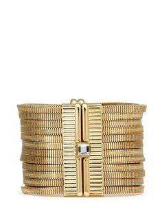 LANVIN Crystal stud snakechain tier bracelet