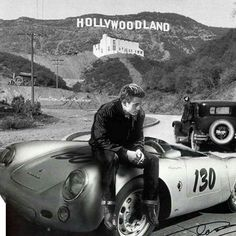 """James Dean and his """"Little Bastard"""" Porsche Marie Curie, Classic Hollywood, Old Hollywood, Hollywood Actresses, Hollywood Sign, Porsche 550, Porsche Cars, James Dean Photos, East Of Eden"""