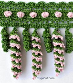 Spiral & Bobble Crochet Trim: free - I could see doing this in white as an icicle pattern for Christmas. Picot Crochet, Bobble Crochet, Crochet Twist, Crochet Fringe, Crochet Borders, Crochet Stitches Patterns, Crochet Motif, Crochet Designs, Crochet Flowers