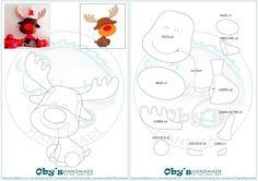 Felt reindeer free pattern - Cartamodello renna in feltro