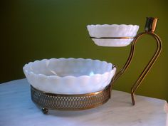 Vintage Anchor Hocking Bubble Glass Chip and Dip Set. I have the bowls; I just need the bracket!!!  sfm