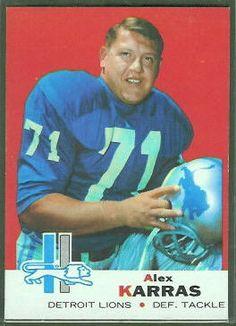 Alex Karras 1969 Topps football card. Detroit Lions