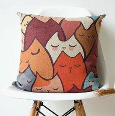 Lovely sleeping cat throw pillows sofa, Hand painted pillow,Print cat pillowcases cartoon,Cat cushion cover, Throw pillow cover,Chair cusion