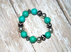 Chunky Turquoise Bone Black White Tribal Silver by Cheshujewelry, $18.00