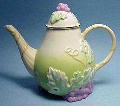 Lenox Teatime Pear fection Teapot Embossed Purple Grape China Discontinued Vtg | eBay