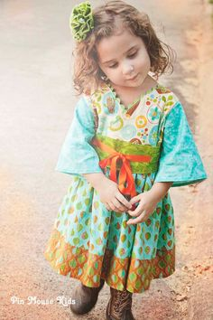 Autumn Dress for Girls en Kleine Meisjes  Kimono door PinkMouseKids