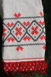 Abstract Romanian folk motif on a decorative towel