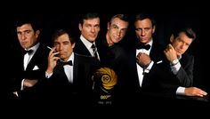 (left-right) George Lazenby, Timothy Dalton, Roger Moore, Sean Connery, Daniel Craig and Pierce Bronsnan. James Bond Suit, Bond Suits, Sean Connery James Bond, James Bond Actors, James Bond Movie Posters, James Bond Party, Daniel Craig James Bond, James Bond Movies, Estilo James Bond