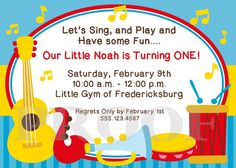 Let's Make Music Printable Invitations by Ciao Bambino (available for boys and girls); Printed Invitations available, too.