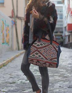 bolso kilim y piel natural / kilim and leather made bag by david by ros #davidbyros