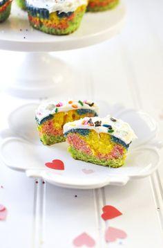 rainbow heart cupcakes @Jennifer Leal