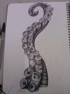 Octopus Tentacle by SweetestMalificia on deviantART. I like how the line work em… Octopus Tentacle by SweetestMalificia on deviantART. I like how the line work emphasis the movement and form of the tentacle, it looks like it is in motion. Octopus Sketch, Octopus Drawing, Jellyfish Drawing, Octopus Tattoo Design, Octopus Tattoos, Tattoo Designs, How To Draw Octopus, Octopus Illustration, Small Octopus Tattoo