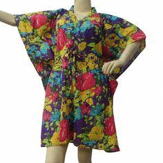 Beautiful Floral Print Women Kaftan For Women Cotton Short Caftan Gypsy Size Xxs Batwing Sleeve, Cotton Shorts, Indian Outfits, Kaftan, Orange Color, Kimono Top, Floral Prints, Gypsy, Clothes For Women