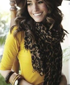 Leopard scarf with mustard top! So cute!