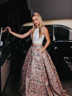 Two Pieces Prom Dresses A-line Scoop Floral Modest Long Prom Dress/Evening Dress