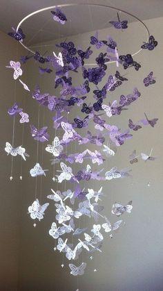 Butterfly Chandelier Mobile DIY Tutorial #diy, #craft, #homedecor, #mobile, #chandelier