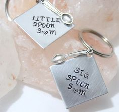 FREE SHIPPING----- FREE SHIPPING- Big Spoon Little Spoon, Valentines Day, Gift for Him, Gift for Her, Anniversary Gift, Personalized Gift This is a set of two keychains decorated with spoon charms and personalized with your initials. This is a great gift to share with your significant other for their birthday, Valentines Day, your anniversary, or just for fun! Please let me know what initials you would like stamped at check out! These discs measure one inch across. All items by Charmed Oliv... Big Spoon Little Spoon, Gifts For Him, Great Gifts, Birthstone Charms, Couple Gifts, Boyfriend Gifts, Keychains, Heart Charm, Hand Stamped