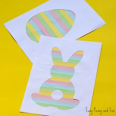 Printable Easter Silhouette Craft - Easter Bunny Template - Easy Peasy and Fun Diy Easter Cards, Easter Bunny Decorations, Diy Christmas Cards, Easter Arts And Crafts, Easter Projects, Bunny Crafts, Kids Crafts, Easter Bunny Template, Bunny Templates