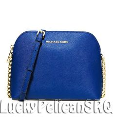 Michael Kors Cindy Large Dome Crossbody Messenger Bag Electric Blue NWT #MichaelKors #MessengerCrossBody