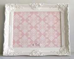 Magnet Board Shabby Chic Pink Damask Girls Vintage Frame Nursery Ornate Pink Wedding Sign Baby Shower Decoration Decor Picture Frame Gift. $98.00, via Etsy.
