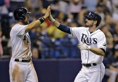 Rays get back into swing & edge Brewers 2-1. Jake Odorizzi pitched 7 innings with 3 hits, 5 SO & no walks against the team that drafted him. He is 4-1 with 2.90 ERA for the month.  Brad Boxberger & Jake McGee pitched the 8th & 9th getting 5 SO. James Loney got a 2-out 2-run  single in the 6th for the runs. Great pitching, good defense (Kiermaier) & timely hitting gets the Rays their win. Since June 11 they are 28-12, the best record in the Major Leagues. (7-28-14) (Above: Zobrist & Joyce)