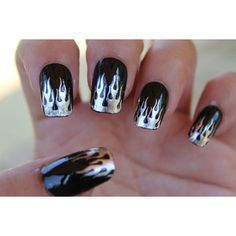 Free Shipping - 29 Chrome Foil FLAME TIPS Nail Art (FMC) Harley Inspired Hot Rod Biker Chic - Waterslide Transfer Decals not Stickers