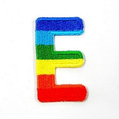 E Character Letter Alphabet Rainbow Appliques Hat Cap Polo Backpack Clothing Jacket Shirt DIY Embroidered Iron On / Sew On Patch ** Details can be found by clicking on the image.