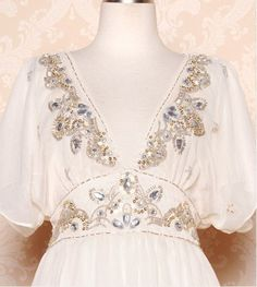 Vintage Chiffon Beading Wedding Dress Cap Sleeves by laceyouup, $69.00