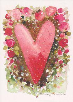 Minna Immonen I Love Heart, With All My Heart, Positive Art, Heart Wreath, Felt Hearts, Paint Party, Heart Art, Xmas Cards, Be My Valentine