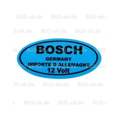 T1, T2 T3 Aufkleber Bosch blau 12V in T1-1967, T1 Aufkleber, T1 Technische Aufkleber. Aufkleber Bosch blau fürdie Zündspule.